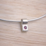 Silver Slide Necklace: Birthstone with Chain