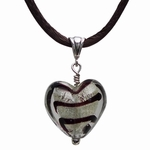 Murano Glass Heart (brown stripes on silver)