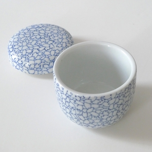 20th Anniversary Gift - Hearts and Star Rosette in blue and white china