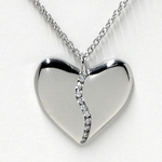 Platinum and Diamond Harmony Heart Necklace (Large)