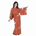 Red Yukata Robe with Flowers