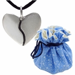 Silver Harmony Heart in Cotton Gift Pouch