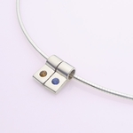Silver Slide Necklace: 2 Birthstones and Chain
