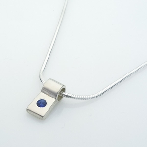 Silver Slide (One Sapphire) Necklace- Tapered Design