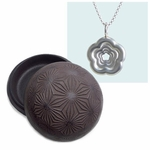 Solid Silver Rosette Necklace in a Cast Iron Container (dandelion relief)