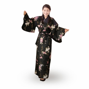 Women's Black Yukata with White & Lavendar Flowers