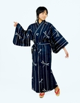 Women's Blue Yukata with White Dragonflies