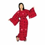 Women's Red Cotton Robe with Chinese Characters
