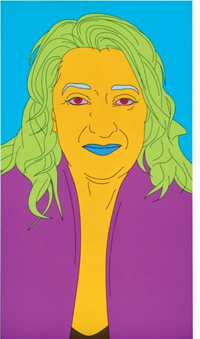 """Featured image, """"Dame Zaha Mohammad Hadid"""" (2008), a wall-mounted LCD screen with integrated software by Michael Craig-Martin, is reproduced from <I>21st-Century Portraits.</I>"""