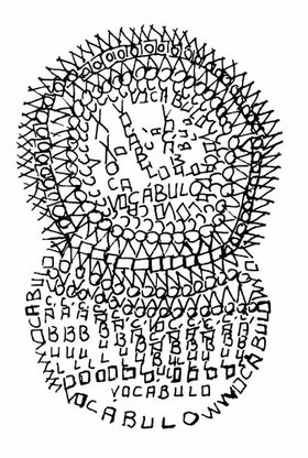 """voc�bulo = vocable"" (1966), by Edgard Braga, is reproduced from <I>An Anthology of Concrete Poetry</I>."