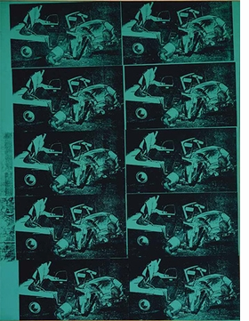 """Andy Warhol, """"Green Disaster #2 (Green Disaster Ten Times)"""", 1963, is reproduced from <i>Andy Warhol: Death and Disaster</i>."""