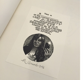 The signed and numbered book plate included in the slipcased limited edition of <I>Art & Beauty Magazine: Drawings by R. Crumb</I>.