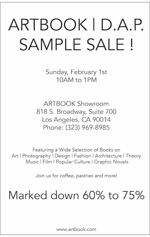 Come to the Los Angeles ARTBOOK | D.A.P. Showroom Sample Sale!