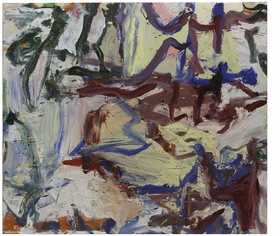 "Featured image, Willem De Kooning's <i>...Whose Name Was Writ in Water</i> (1975), from the collection of the Solomon R. Guggenheim Collection, is reproduced from The Museum of Modern Art's monumental career survey, <a href=""http://www.artbook.com/9780870707971.html"">De Kooning: A Retrospective</a>. Of the painting, Jennifer Field writes, ""In <i>...Whose Name Was Writ in Water</i>, the mauve brushstrokes at center right have the waxiness of encaustic. They hover over a thick, puckered passage of butter yellow�the result of de Kooning's practice of mixing his paints with safflower oil, water, and either kerosene or another solvent, which he would whip into a 'fluffy consistency.' De Kooning would have learned about the effects of mixing water-and oil-based mediums as a housepainter. This combination kept the paint wet and pliable. When it dried, it created a roiled surface of wrinkled and bubbled areas, later prompting the philosopher Richard Wollheim to liken these effects to the 'infantile experiences of sucking, touching, biting, excreting retaining, smearing, sniffing, swallowing, gurgling, stroking, wetting.'"""
