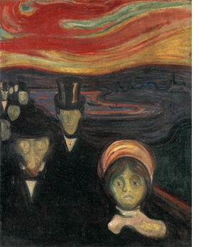 """Anxiety"" (1894) is reproduced from <I>Edvard Munch: Archetypes</I>."