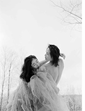 "Featured image, by Philip Trager, captures Eiko & Koma at Jacob's Pillow in the winter of 1993. Reproduced from the <a href=""walkerartcenter.html"">Walker Art Center's</a> complete, illustrated catalogue of Eiko & Koma's dance works, <a href=""9780935640977.html"">Time Is Not Even, Space Is Not Empty</a>, this image is accompanied by the following text on collaborating by Trager: ""It was freezing. I photographed Eiko & Koma, half-clad, on ice and snow. There was no heat or water. Aborting the project was out of the question. Alert and attentive to one another, we shared a single-minded resolve. Our work together was totally open, often informing each other without words. This was shared creative impetus at its best.<br> But this should have come as no surprise. Even before I started photographing them, I knew that we were totally attuned to one another, that everything would work out beautifully. The day before I arrived, Eiko & Koma chose locations for our session. I then chose some myself. From the myriad possibilities at Jacob's Pillow, we had selected exactly the same sites."""