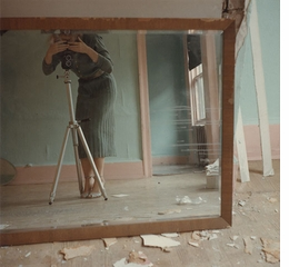 Francesca Woodman: On Being an Angel, color photograph with tripod