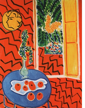 """Featured image, Matisse's """"Red Interior, Still Life on a Blue Table"""" (1947), is reproduced from <I>Fresh Widow: The Window in Art since Matisse and Duchamp.</I>"""