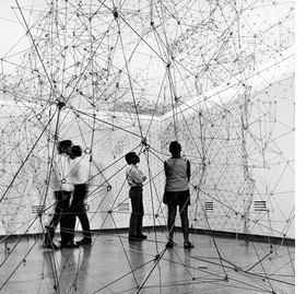 """Installation view of """"Reticul�rea"""" at Museo de Bellas Artes, Caracas, 1969, is reproduced from <I>Gego: Line as Object</I>. Photograph is by Paolo Gasparini � Fundaci�n Gego."""