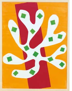 """White Alga on Orange and Red Background (Algue blanche sur fond orange et rouge)"" (1947) is reproduced from <I>Henri Matisse: The Cut-Outs</I>."
