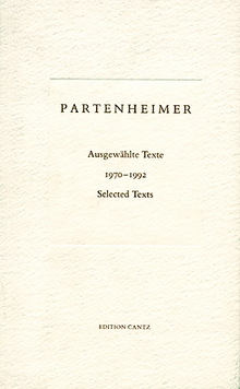 J�rgen Partenheimer: Selected Texts 1970-1992
