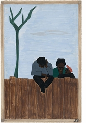 """Jacob Lawrence: The Migration Series, panel 26, """"And people all over the South began to discuss this great movement"""""""