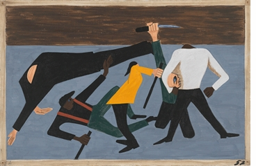 """Jacob Lawrence: The Migration Series, Panel 52 (""""race riots in East St. Louis""""), 1940-1941"""