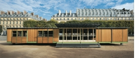 Jean Prouvé's Ferembal house, 1948, adapted in 2010 by Jean Nouvel, Jardin des Tuileries, Paris, is reproduced from the volume on the Ferembal Demountable House.
