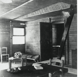 "Featured image is captioned, ""The use of the axial portal frame gave Pierre Jeanneret enormous freedom in organizing the interior layout. Working from design studies carried out with Le Corbusier in the 1920s, he allowed family life to flow freely around the 'fireside nook.' Openwork sliding partitions divided up the interior, which was extended outdoors as a covered terrace. The houses at Saint-Auban were equipped with furnishings designed by Jeanneret and Charlotte Perriand and henceforth made by BCC."