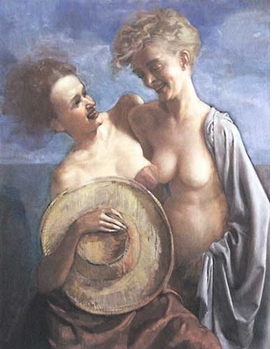 Featured image, reproduced from <I>The Dogwood Thieves</I>, is an early iteration of Currin's iconic painting of the same name.