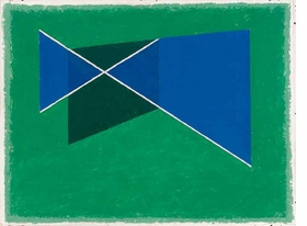 """Featured image, """"Slanting Cross (on green)"""" (1938), is reproduced from <I>Josef Albers: Spirituality and Rigor</I>."""