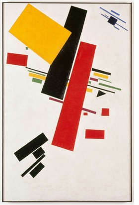 """Suprematist No. 38"" (1915-1916) is reproduced from <I>Kazimir Malevich and the Russian Avant-Garde</I>."