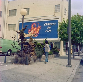 "Featured image, ""Oranges on Fire, Billboard, Silk Screen Prints produced by Foster & Kleiser Outdoor Advertising, 10� x 22�, San Francisco, CA,"" 1975, is reproduced from <I>Larry Sultan & Mike Mandel</I>."