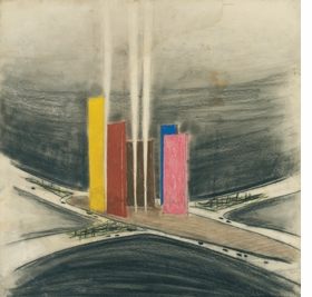 "Featured image is: Luis Barragán, ""Torres de Satélite (1957), Ciudad Satélite, Naucalpan de Juárez, outskirts of Mexico City, State of México, Perspective view of the towers."" Undated. Color chalk on cardboard. 28.3 x 28.7 "". Barragán Archives, Barragan Foundation, Switzerland © 2014 Barragan Foundation, Switzerland / Artists Rights Society (ARS), New York."