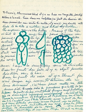 Featured image, a loose sheet of writing, c. 1959, is reproduced from <I>Louise Bourgeois: The Return of the Repressed</I>.