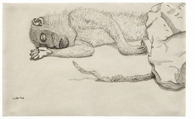 """Featured image is Lucian Freud's 1944 ink drawing, """"Dead Monkey."""" In his catalog essay, Mark Rosenthal writes, """"With Freud's exquisite depictions of dead animals, he assumed a kind of maudlin approach to 'convulsive beauty.'"""""""