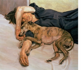 """<a href=""""catalog--art--monographs--freud--lucian.html"""">Lucian Freud</a>, whose 1985-86 """"Double Portrait"""" is featured above, died on Wednesday, July 20, at the age of 88. Considered by many the greatest figurative painter of the twentieth century, Freud, a grandson of Sigmund Freud, """"was a bohemian of the old school,"""" according to <a href="""" http://www.nytimes.com/2011/07/22/arts/lucian-freud-adept-portraiture-artist-dies-at-88.html"""" target='new'>The New York Times'</a> William Grimes. """"He set up his studios in squalid neighborhoods, developed a Byronic reputation as a rake and gambled recklessly ('Debt stimulates me,' he once said)."""" His paintings, often of """"friends and intimates, splayed nude in his studio� put the pictorial language of traditional European painting in the service of an anti-romantic, confrontational style of portraiture that stripped bare the sitter�s social fa�ade� His female subjects in particular seemed not just nude but obtrusively naked. Mr. Freud pushed this effect so far, [art critic John] Russell once noted, 'that we sometimes wonder if we have any right to be there.' By contrast, his horses and dogs, like his whippets Pluto and Eli, were evoked with tender solicitude."""" Featured image is reproduced from Hirmer Verlag's <a href=""""9783777426914.html"""">Lucian Freud: The Studio</a>."""