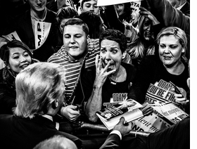 ABOVE: Supporters react to Donald trump at a rally in Massachusetts, 2015, reproduced from 'Mark Peterson: Political Theatre.'