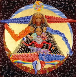 "Featured image, ""Time,"" a 1965 oil and tempera painting by Mati Klarwein, was reproduced on the cover of Buddy Miles 1994 CD, <I>Hell and Back</I>. It is reproduced from <I>Mati & The Music: 52 Record Covers 1955-2005</I>."
