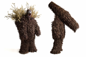"Featured image, two 2007 <I>Soundsuits</I> fabricated with sticks, dried plants and fabric, plus appliqu� and embroidery, is reproduced from <a href=""9780615245935.html"">Nick Cave: Meet Me at the Center of the Earth</a>."