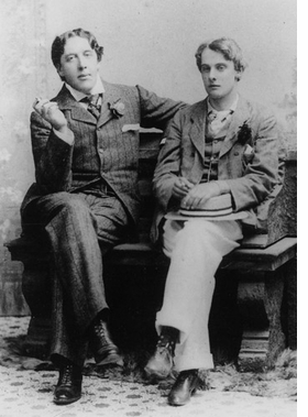 """Featured image, of Oscar Wilde and Lord Alfred """"Bosie"""" Douglas, circa May 1893, by Gillman & Co., is reproduced from <I>Oscar Wilde and His Circle</I>."""