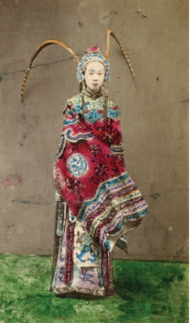 Featured image, an albumen print by an unknown photographer, circa 1870, of a Chinese actress in a costume from the play <I>Nushen</I>, is reproduced from <I> Perception and Image of China in Early Photographs</i>.