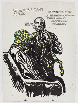 Featured image, <I>No Title (The Invisible Man�s�)</I>, 2010, is reproduced from <I>Raymond Pettibon: Here's Your Irony Back.</I>