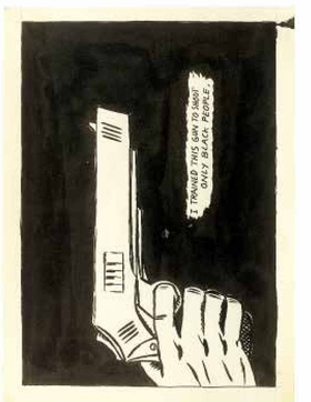 """""""No Title (I trained this . . .)"""" (1984) is reproduced from <I>Raymond Pettibon: Homo Americanus</I>."""