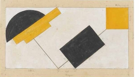 """Suprematist Composition: Study for a Wall Painting"" (1922), attributed to El Lissitzky, is reproduced from <I>Russian Avant-Garde</I>."