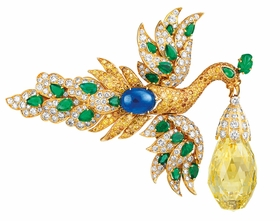 "This brooch is a great example of one of Van Cleef & Arpels great design innovations: ""Transformations"". This bird brooch has wings which can be removed and transform into earrings! <P> Featured image is reproduced from <a href=""9780910503853.html"">Set in Style: The Jewelry of Van Cleef & Arpels</a>."