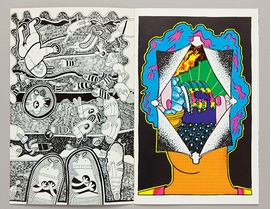 """Spread from """"Hairy Who (cat-a-log)"""" (1969), published on the occasion of the Hairy Who exhibition at the Dupont Center, Corcoran Gallery, Washington, D.C., April 15-May 17, 1969, is reproduced from <I>The Collected Hairy Who Publications 1966-1969</I>."""