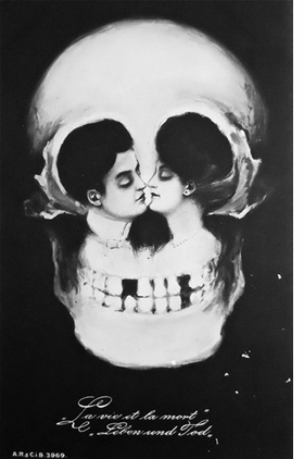 "The postcard ""La Vie la Mort, Leben und Tod"" (c. 1900s) is reproduced from <I>The Morbid Anatomy Anthology</I>."