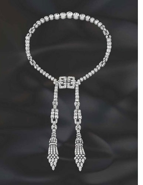 Featured image, reproduced from <I>Van Cleef & Arpels: The Art of Beauty</I>, is a 1927 platinum and diamond Art Deco necklace from a California collection.