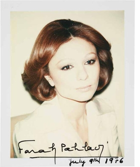 Featured Polaroid, of Empress Farah Pahlavi, in Iran (1976), is reproduced from <I>Warhol's Queens</I>.